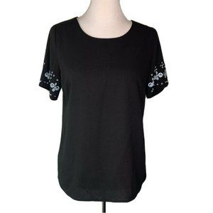 Skies Are Blue Womens Blouse Black Short Sleeve S